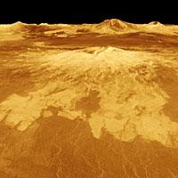 3D perspective view of Venus showing Sapas Mons (NASA/JPL)